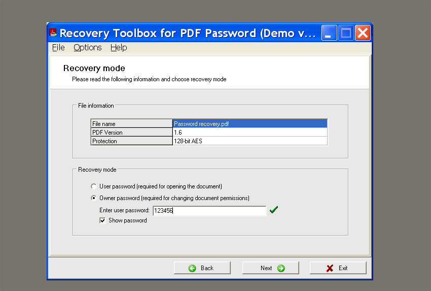 two modes password recovery